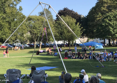 The Air Temple Arts circus' aerial rig on the Guilford Green